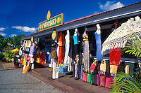 Unique gifts and colorful garments on display await shoppers visiting the quaint town of Haleiwa on Oahu's north shore.
