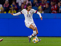 LE HAVRE,  - JUNE 20: Christen Press #23 dribbles during a game between Sweden and USWNT at Stade Oceane on June 20, 2019 in Le Havre, France.