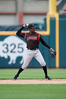 Indianapolis Indians second baseman Darnell Sweeney (43) throws to first base during an International League game against the Buffalo Bisons on June 20, 2019 at Sahlen Field in Buffalo, New York.  Buffalo defeated Indianapolis 11-8  (Mike Janes/Four Seam Images)