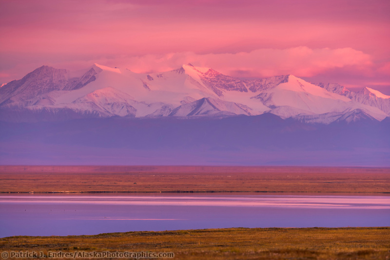 Romanzof mountains of the Brooks Range in the Arctic National Wildlife Refuge, view from Barter Island south to the refuge.