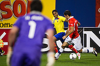 Antonio Valencia (16) of Ecuador is marked by Marcos Gonzalez (3) of Chile. Ecuador defeated Chile 3-0 during an international friendly at Citi Field in Flushing, NY, on August 15, 2012.