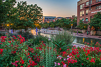 Riverwalk at sunset, downtown Pueblo