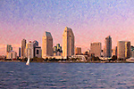 Photo art of sailboat and the San Diego skyline