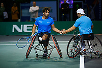 Rotterdam, The Netherlands, 11 Februari 2020, ABNAMRO World Tennis Tournament, Ahoy, <br /> Wheelchair tennis: Daniel Caverzaschi (ESP) and Martin De La Puente (ESP).<br /> Photo: www.tennisimages.com