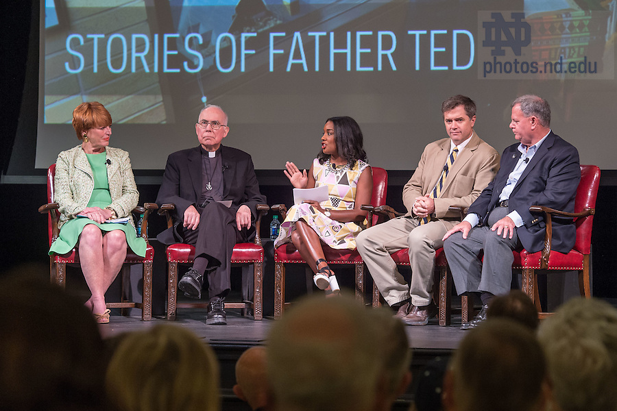 """June 5, 2015; """"Stories of Father Ted"""" panel discussion, Reunion 2015. (Photo by Matt Cashore/University of Notre Dame)"""