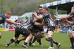Leinster A number 8 Jack Conan crashes into Pontypridd pair Keiron Jenkins and Dan Godfrey.<br /> British & Irish Cup Semi Final<br /> Pontypridd v Leinster A<br /> Sardis Road - Pontypridd<br /> <br /> ©Steve Pope-SPORTINGWALES