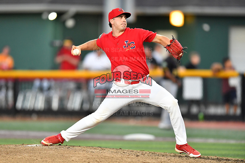 Johnson City Cardinals pitcher Will Guay (47) delivers a pitch during game two of the Appalachian League, West Division Playoffs against the Bristol Pirates at TVA Credit Union Ballpark on August 31, 2019 in Johnson City, Tennessee. The Cardinals defeated the Pirates 7-4 to even the series at 1-1. (Tony Farlow/Four Seam Images)