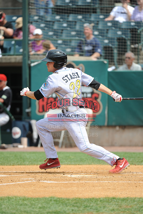 Reading Fightin Phils infielder Brock Stassi (28) during game against the New Britain Rock Cats  at New Britain Stadium on July 13, 2014 in New Britain, CT. Reading defeated New Britain 6-4.  (Tomasso DeRosa/Four Seam Images)