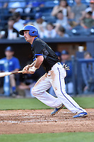 UNC Asheville Bulldogs shortstop Derek Smith (8) swings at a pitch during a game against the Tennessee Volunteers at McCormick Field on March 15, 2016 in Asheville, North Carolina. The Volunteers defeated the Bull Dogs 7-3. (Tony Farlow/Four Seam Images)