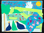 Art work by child girl age 7 cut and torn paper collage