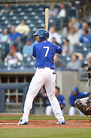 ***Temporary Unedited Reference File***Tulsa Drillers left fielder Jacob Scavuzzo (7) during a game against the Arkansas Travelers on April 25, 2016 at ONEOK Field in Tulsa, Oklahoma.  Tulsa defeated Arkansas 4-3.  (Mike Janes/Four Seam Images)
