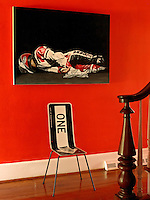 Local artist Ian Hemingway's self portrait of his motorcycle crash hangs in the entrance hall