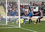 St Mirren v St Johnstone…29.08.21  SMiSA Stadium    SPFL<br />Chris Kane is pulled back by Marcus Fraser<br />Picture by Graeme Hart.<br />Copyright Perthshire Picture Agency<br />Tel: 01738 623350  Mobile: 07990 594431