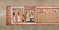 Ancient Egyptian Book of the Dead papyrus - From  tomb of Kha & Merit, Theban Tomb 8 , mid-18th dynasty (1550 to 1292 BC), Turin Egyptian Museum.  white background