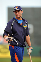Brooklyn Cyclones catcher Jeff Glenn (4) during game against the Staten Island Yankees at MCU Park on June 18, 2012 in Brooklyn, NY.  Brooklyn defeated Staten Island 2-0.  Tomasso DeRosa/Four Seam Images