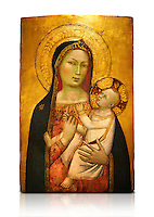 Gothic altarpiece of Madonna and Child by Bernardo Daddi, circa 1340-1345, tempera and gold leaf on wood.  National Museum of Catalan Art, Barcelona, Spain, inv no: MNAC  212806. Against a white background.