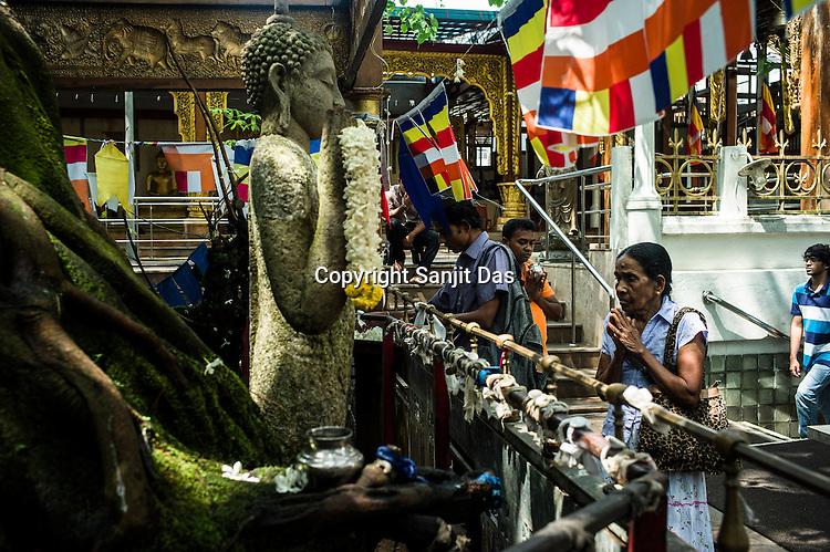Buddhist Sri Lankans visit the local Buddhist temple in Colombo, Sri Lanka.  Photo: Sanjit Das/Panos
