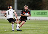 28th March 2021; Rosslyn Park, London, England; Betfred Challenge Cup, Rugby League, London Broncos versus York City Knights;  Olsi Krasniqi of London Broncos takes on Will Jubb of York City Knights
