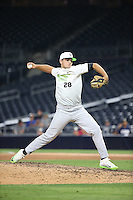 Nick Storz (28) of the East Team pitches against the West Team during the Perfect Game All American Classic at Petco Park on August 14, 2016 in San Diego, California. West Team defeated the East Team, 13-0. (Larry Goren/Four Seam Images)