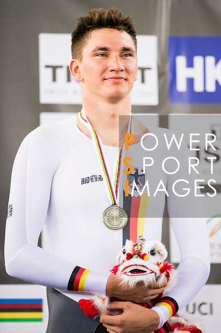 Lucas Liss of the Germany team celebrates receives his silver medal of the Men's Scratch Race Final as part of the 2017 UCI Track Cycling World Championships on 13 April 2017, in Hong Kong Velodrome, Hong Kong, China. Photo by Marcio Rodrigo Machado / Power Sport Images