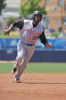 Arkansas Travelers left fielder Keury De La Cruz (34) runs to third base during a game against the Tulsa Drillers at Oneok Field on May 22, 2017 in Tulsa, Oklahoma.  Arkansas won 5-4.  (Dennis Hubbard/Four Seam Images)