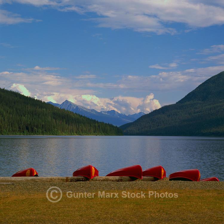 Red Canoes for Rent at Bowron Lake, Bowron Lake Provincial Park, BC, Cariboo Region of British Columbia, Canada