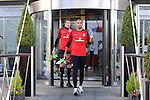 Wales goalkeepers Boaz Myhill and Wayne Hennessey leaving the St Davids Hotel in Cardiff today to head off for training with the Wales Football squad.