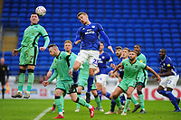 Nathan Thomas of Carlisle United under pressure from Danny Ward of Cardiff City during the FA Cup third round match between Cardiff City and Carlisle United at the Cardiff City Stadium in Cardiff, Wales, UK. Saturday 04 January 2020