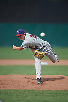 Mahoning Valley Scrappers relief pitcher Michael Hendrickson (36) follows through on a pitch during the second game of a doubleheader against the Auburn Doubledays on July 2, 2017 at Falcon Park in Auburn, New York.  Mahoning Valley defeated Auburn 3-2.  (Mike Janes/Four Seam Images)