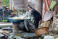 Huanggang, Guizhou, China.  Dong Women Cooking Greens for Pig Food.