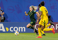 GRENOBLE, FRANCE - JUNE 18: Ellie Carpenter #21 of the Australian National Team dribbles down the wing during a game between Jamaica and Australia at Stade des Alpes on June 18, 2019 in Grenoble, France.