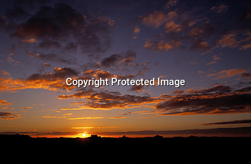 Colorful sunrise with the focus on the sky, taken in the Florida Everglades.