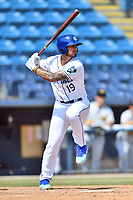 Asheville Tourists right fielder Niko Decolati (19) swings at a pitch during a game against the West Virginia Power at McCormick Field on June 2, 2019 in Asheville, North Carolina. The  Power defeated the Tourists 5-4. (Tony Farlow/Four Seam Images)