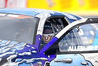 Feb. 24, 2011; Pomona, CA, USA; NHRA pro stock driver Allen Johnson during qualifying for the Winternationals at Auto Club Raceway at Pomona. Mandatory Credit: Mark J. Rebilas-