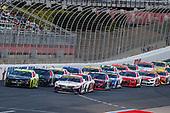 #11: Denny Hamlin, Joe Gibbs Racing, Toyota Camry FedEx Office, #21: Matt DiBenedetto, Wood Brothers Racing, Ford Mustang Menards/Duracell