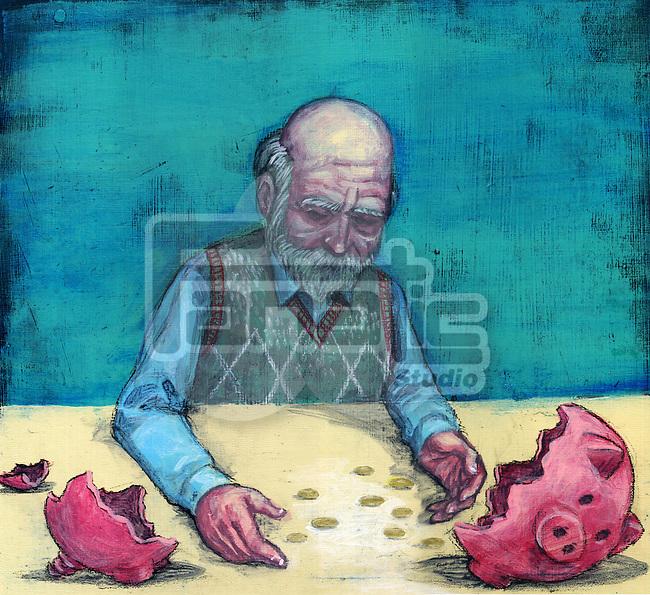 Conceptual illustration of elderly man with broken piggy bank