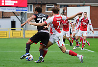 Lincoln City's Brennan Johnson is tackled by Fleetwood Town's Wes Burns but no penalty was given<br /> <br /> Photographer Chris Vaughan/CameraSport<br /> <br /> The EFL Sky Bet League One - Fleetwood Town v Lincoln City - Saturday 17th October 2020 - Highbury Stadium - Fleetwood<br /> <br /> World Copyright © 2020 CameraSport. All rights reserved. 43 Linden Ave. Countesthorpe. Leicester. England. LE8 5PG - Tel: +44 (0) 116 277 4147 - admin@camerasport.com - www.camerasport.com