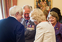 Pictured: Prince Charles with his wife the Duchess of Cornwall with Greek President Prokopis Pavlopoulos (R) at the Presidential Mansion in Athens, Greece. Wednesday 09 May 2018 <br /> Re: Official visit of HRH Prnce Charles and his wife the Duchess of Cornwall to Athens, Greece.
