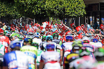 School children wave Turkish flags as the peloton pass by during Stage 2 of the 2015 Presidential Tour of Turkey running 182km from Alanya to Antalya. 27th April 2015.<br /> Photo: Tour of Turkey/Stiehl Photography/Mario Stiehl/www.newsfile.ie