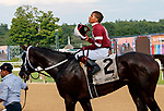 Tenfold (no. 2) wins the Jim Dandy Stakes July 28 at Saratoga Race Course, Saratoga Springs, NY.    Ridden by Ricardo Santana, Jr., and trained by Steven Asmussen, Tenfold finished in the middle of the track 3/4 lengths in front of Flameaway (no. 1) in the 1 1/8 mile race.  (Bruce Dudek/Eclipse Sportswire)