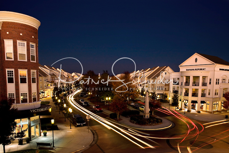 Architectural photography of mixed-use development Birkdale Village, a suburban shopping center located north of Charlotte, NC, in Huntersville, NC. Birkdale Village is one of the country's first mixed-use developments. The center, anchored by shopping and restaurants, was developed by Pappas Properties.