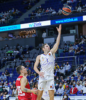 13th October 2021; Wizink Center; Madrid, Spain; Turkish Airlines Euroleague Basketball; game 3; Real Madrid versus AS Monaco; Fabien Causeur (Real Madrid Baloncesto) goes to the net to lay up for 2 points