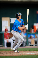 Akron RubberDucks designated hitter Tyler Krieger (10) follows through on a swing during a game against the Harrisburg Senators on August 18, 2018 at FNB Field in Harrisburg, Pennsylvania.  Akron defeated Harrisburg 5-1.  (Mike Janes/Four Seam Images)