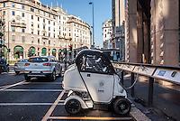 """Milano, Isola digitale. Car sharing """"EQSharing"""", composto da quadricicli elettrici biposto Ducati """"Free Duck"""" (il servizio è stato sospeso) --- Milan, digital area. Car sharing """"EQSharing"""", consisting of electric two-seater quadricycle Ducati """"Free Duck"""" (the service is no more available)"""