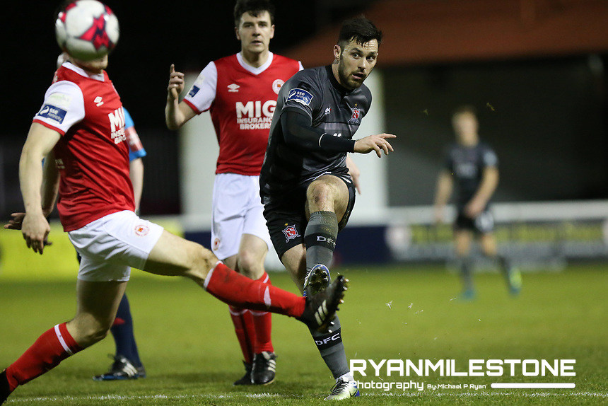 Patrick Hoban of Dundalk during the SSE Airtricity League Premier Division game between St Patrick's Athletic and Dundalk FC on Monday 12th March 2018 at Richmond Park, Dublin. Photo By: Michael P Ryan