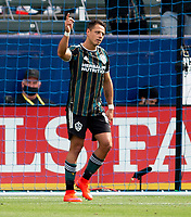 CARSON, CA - APRIL 25: Javier Hernandez #14 of the Los Angeles Galaxy scores a goal and celebrates during a game between New York Red Bulls and Los Angeles Galaxy at Dignity Health Sports Park on April 25, 2021 in Carson, California.