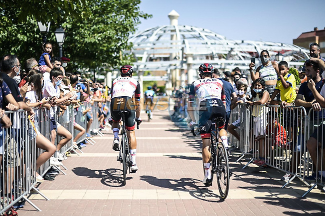 UAE Team Emirates arrive at sign on before Stage 5 of La Vuelta d'Espana 2021, running 184.4km from Tarancón to Albacete, Spain. 18th August 2021.      <br /> Picture: Charly Lopez/Unipublic | Cyclefile<br /> <br /> All photos usage must carry mandatory copyright credit (© Cyclefile | Unipublic/Charly Lopez)