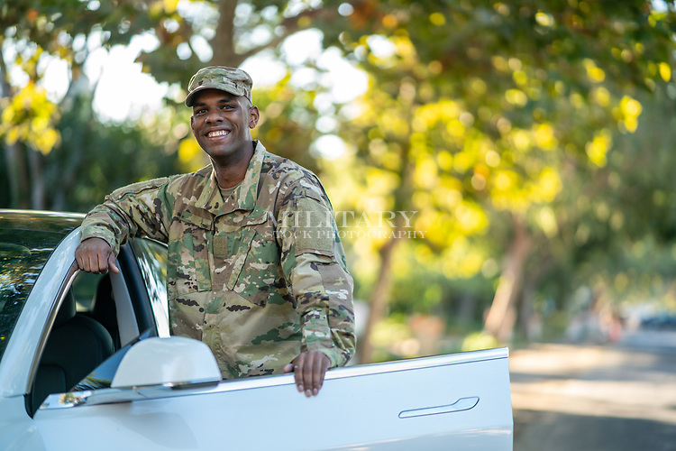 Off-duty US Army African American man, model-released, stock photo, DoD compliant, for sale, for advertising
