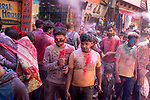 Thousands of Hindu devotees of Lord Krishna visit Vrindavan on the occasion of Holi Festival.  Holi - The  Hindu festival of colour is celibrated for a week in the Brraj region of Uttar Pradesh, India.