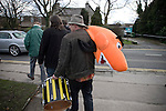 A Southport fan with a giant shrimp mascot leaving the ground after his team's match against Harrogate Town at Wetherby Road, Harrogate. The Conference North match was won 3-2 by Southport, a result which kept the Sandgrounders on course for top spot in the division while Harrogate Town remained bottom.